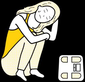 無理なダイエットで体調を崩した女性のイラスト